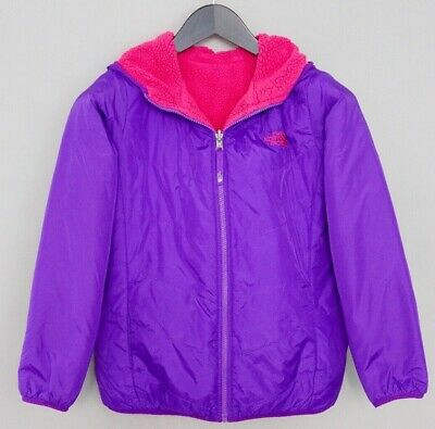 Girls The North Face Jacket Reversible Purple Pink Faux Shearling L 14-16 ZLA925