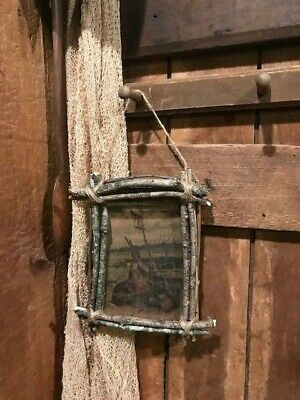 Primitive Easter Bunny Rabbit Homestead Make Do Twig Frame Early Look #7