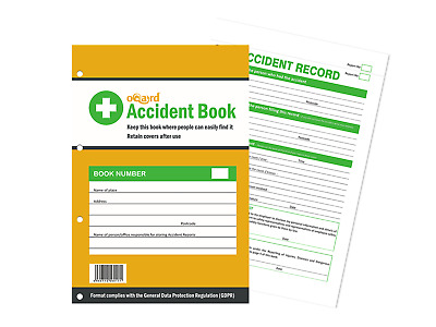 UK Accident Book A4, 50 Incidents. Workplace, School, First Aid. GDPR compliant
