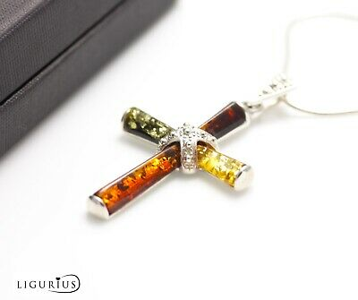Natural Baltic Amber Sterling Silver Cross 925 Pendant Chain Necklace Crucifix