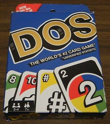 Dos Card Game From The Makers Of Uno Mattel Games 2-4 Players Ages 7+