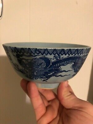 Early Antique Flo Blue Pottery Bowl With Dragons Glazed Into It. Beautiful Piece