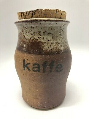 Vintage Studio Crafted  Pottery Koffe Coffee Canister With Cork Lid Circa 1060's