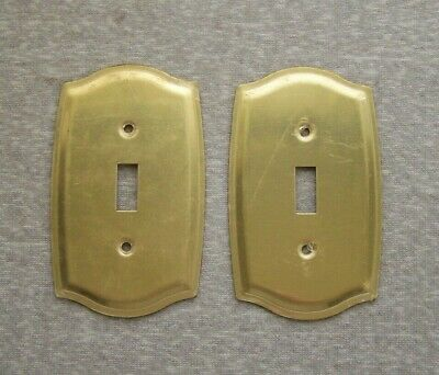 Lot Of 2 Nos Vintage Brass Toggle Light Switch Plate Covers New Unused