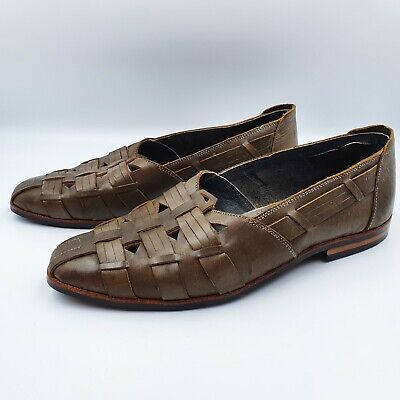 The Tomorrow Shoes by Venus Mens size 9 Vintage Khaki Woven Leather Loafers