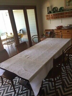 vintage white monogrammed French damask tablecloth with 12 matching napkins