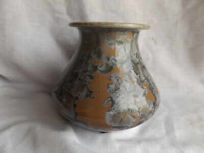 Vintage Dover Pottery Crystalline Gray & Tan Vase Signed & Dated