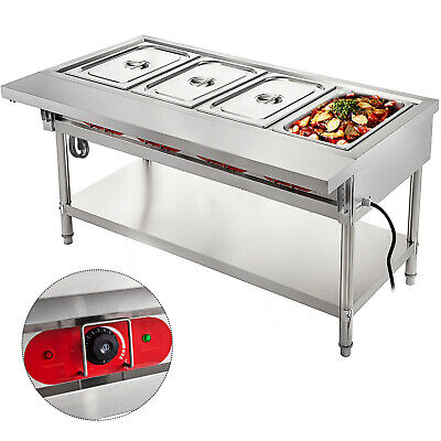 Steam Table Food Warmer Buffet 4 Pans Steamer Bain Marie Restaurant 110V 2000W