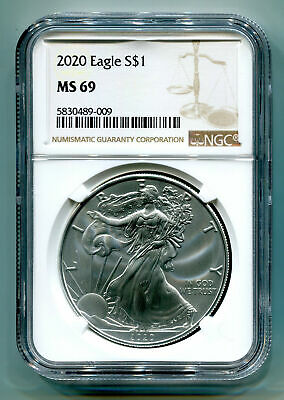 2020 American Silver Eagle Ngc Ms69 New Brown Label As Shown Premium Quality Pq