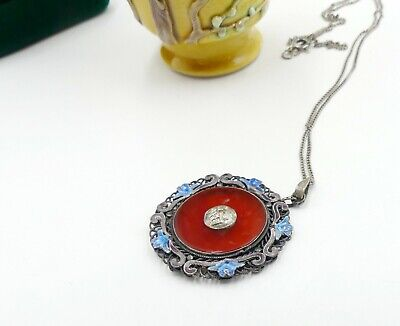 Vintage Chinese sterling silver & enamel filigree round carnelian pendant neckl
