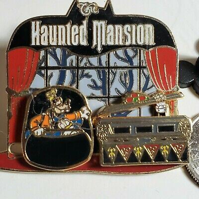 Disney Slider Pin Haunted Mansion Goofy & Donald in a Doom Buggy Opening Coffin
