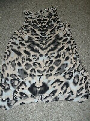 Blue vanilla leopard print top, uk size 10, ladies/girls in great condition
