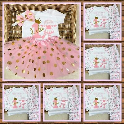 Baby girl princess birthday outfit with matching pyjamas pink girl Gold Age 1,2,