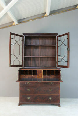 Antique Astragal Glazed Mahogany Secretaire Bookcase