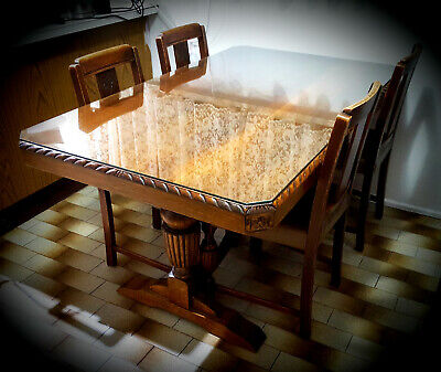Antique Jacobean Intricately Carved ENGLISH OAK Dining Table & Matching Chairs