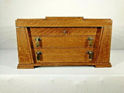 Magnificent Antique Vintage Egyptian Style Art Deco, Solid Oak Jewellery Box