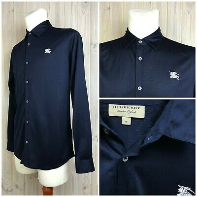 BURBERRY London England Men's Long Sleeve Shirt Embroidered Logo size M ( S )