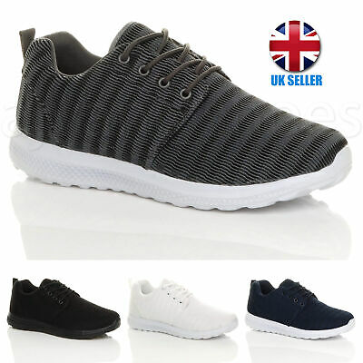 Mens lace up gym lightweight memory foam running fitness sport trainers sneakers