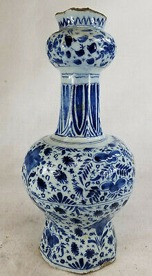 Antique 18th Century Dutch Delft Blue and White Garlic Mouth Vase As Is Majolica
