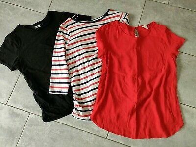 Maternity Tops Size L Bundle. Blooming Marvelous and H&M. Red, black & Stripped.