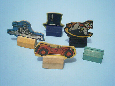Monopoly Board Game Spare Parts : Playing Pieces (4). 1940s(?). Card & Wood