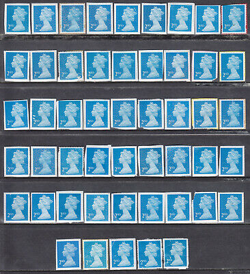 50 x 2nd Class Blue Unfranked Stamps On Paper With Faults Face Value £30.50 06f