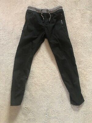 Exc Next Boys Black Plain Pull On Trousers Age 9