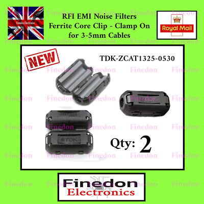 2 Qty Black Clip On Clamp RFI EMI Noise Filters Ferrite Core For 5mm UK Seller