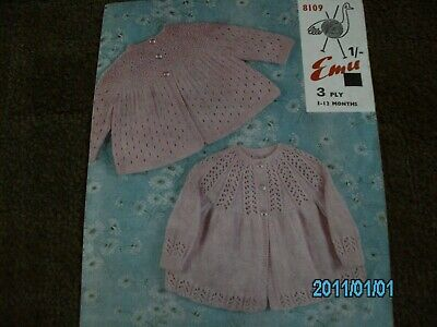 Vintage Knitting Pattern for 2 Matinee Coats in 3 ply