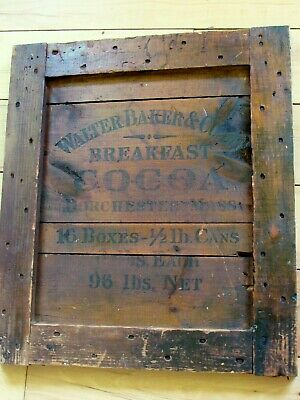 Antique Walter Baker & Co Breakfast Cocoa Crate Side Panel Dorchester Mass