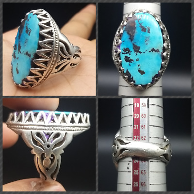 Very Uniqe Old Persian Tourqoise Stone Solid Sliver Antique Ring