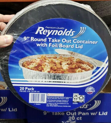 """Reynolds Round  9"""" Disposable Aluminum Foil Take Out Containers 20 PK Flat Lid"""
