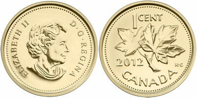 Canada 2012 - 1 Cent - 24 K Gold Plated - Farewell to the Penny
