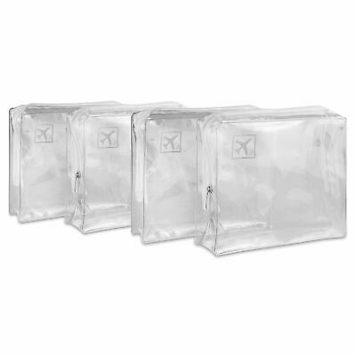 4 X Toiletry Airport Security Holiday Travel Bags - Clear Plastic Makeup Liquids