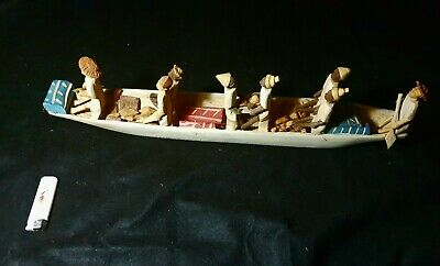 African art OLD Manual carving of a traditional wooden boat model in Ghana