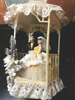 VINTAGE 1960s  WEDDING CAKE TOPPER  stunning  8 inches  tall