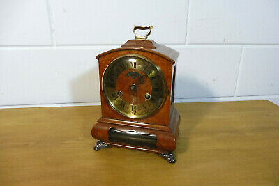 Dutch Warmink Wuba Table Clock Mantel Clock Walnut Shelf Mantel