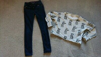 Girls NEXT bundle Age 12-13 Years denim Jeans Crop Jumper Grey Cats! Fab! Top