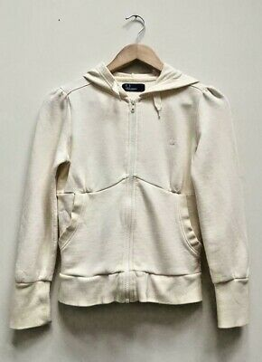 Girls Fred Perry Cream Hoodie Hooded Jacket Size Large Fit Age 12-14