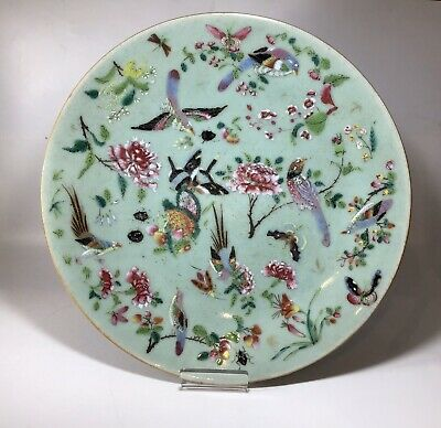 Antique Chinese Celadon Famille Rose Birds & Butterflies Plate 6 Character Mark
