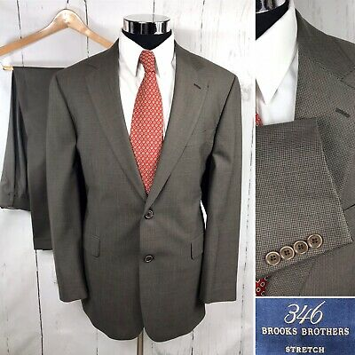 346 Brooks Brothers Stretch Men's Suit 43R 36/29 Brown Pleated Houndstooth