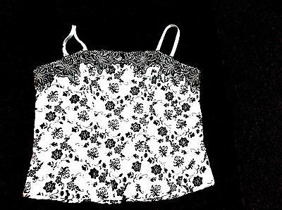 ladies white bustiere top with black flowers size 16