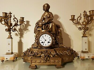 Large French Gilt Figural Mantel Clock.