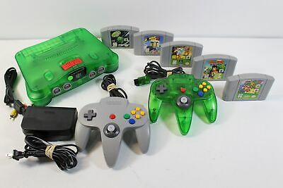 RARE GREEN Nintendo N64 Console w 2 Controller, Cables, & 5 Games TESTED NUS-001
