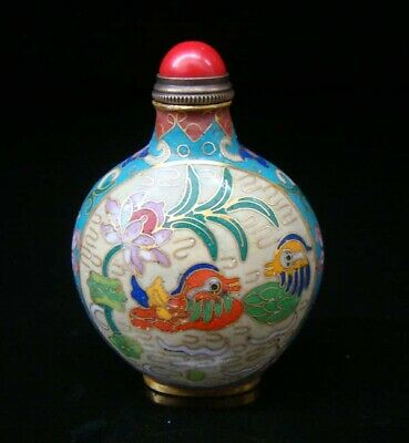 Collectibles 100% Handmade Painting Brass Cloisonne Enamel Snuff Bottles 096