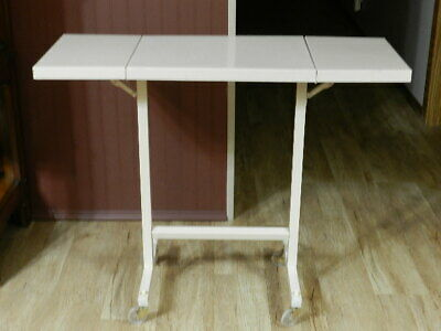 Vintage Mid Century Modern Rolling Drop Leaf Metal Typewriter Table Stand