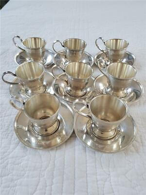 S. Kirk & Son Sterling Silver Demitasse Cups And Saucers Set/8 Pieces/16