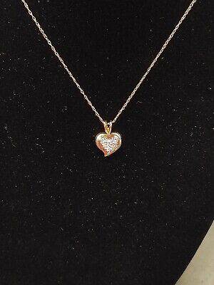 """14Kt Yellow & White Gold Pave Set Diamond Heart Necklace/Pendant 16mm 18"""" Chain"""