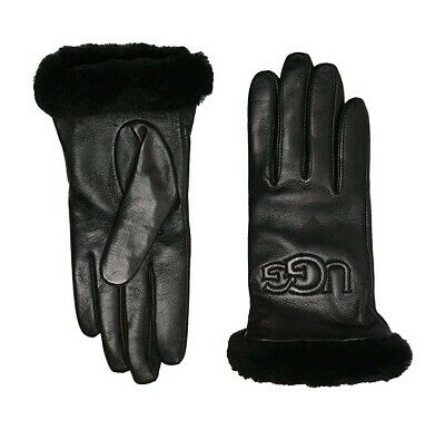 UGG Womens Classic Black Leather Size M Genuine Shearling Sheepskin Logo Gloves