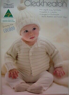 Cleckheaton Knitting Pattern Book - 8 BABY DESIGNS - NB TO 9 Mths in 4 plys - LN